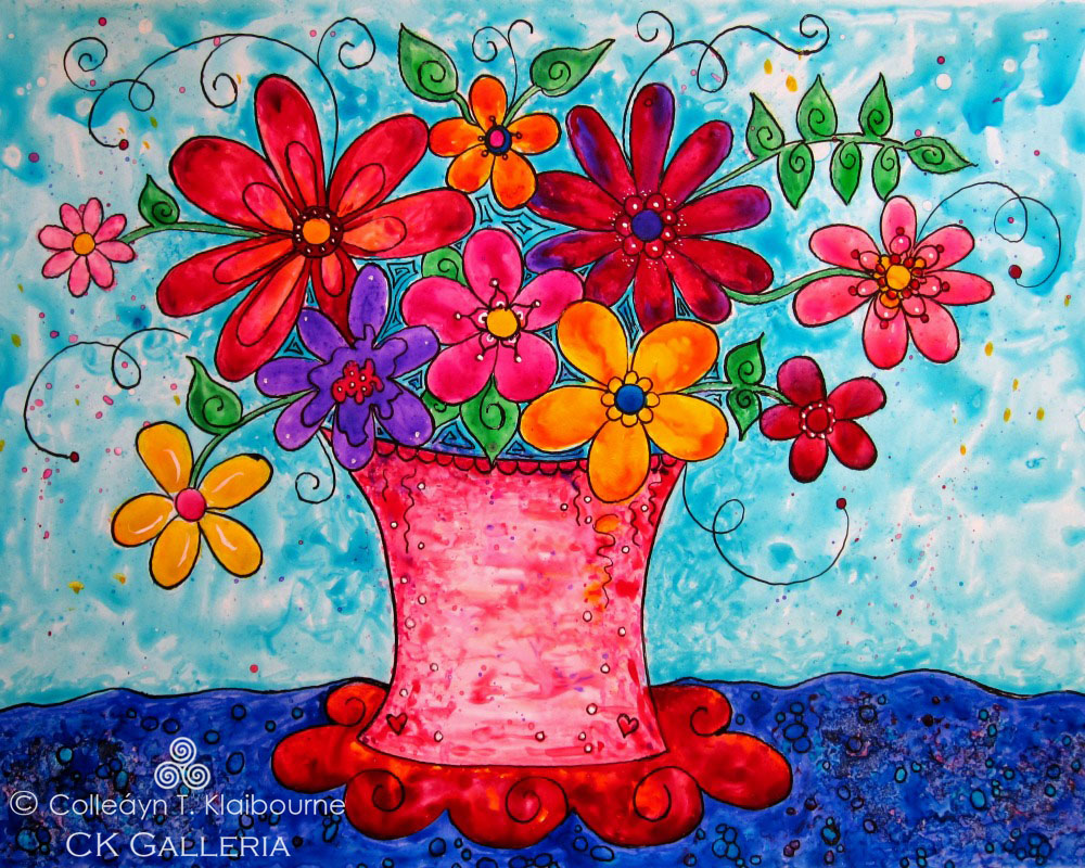 Cheery Flowers on Yupo Paper