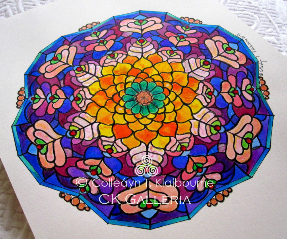 Peacock Mandala up close with watercolor pm