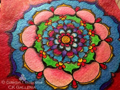 Red Background Mandala close up pm with watermark
