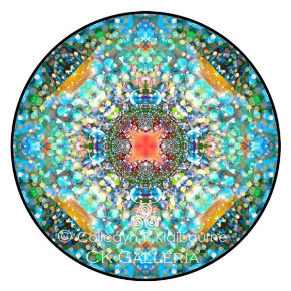 3 March smaller color bubbles mandala 4 Divine Love with copyright