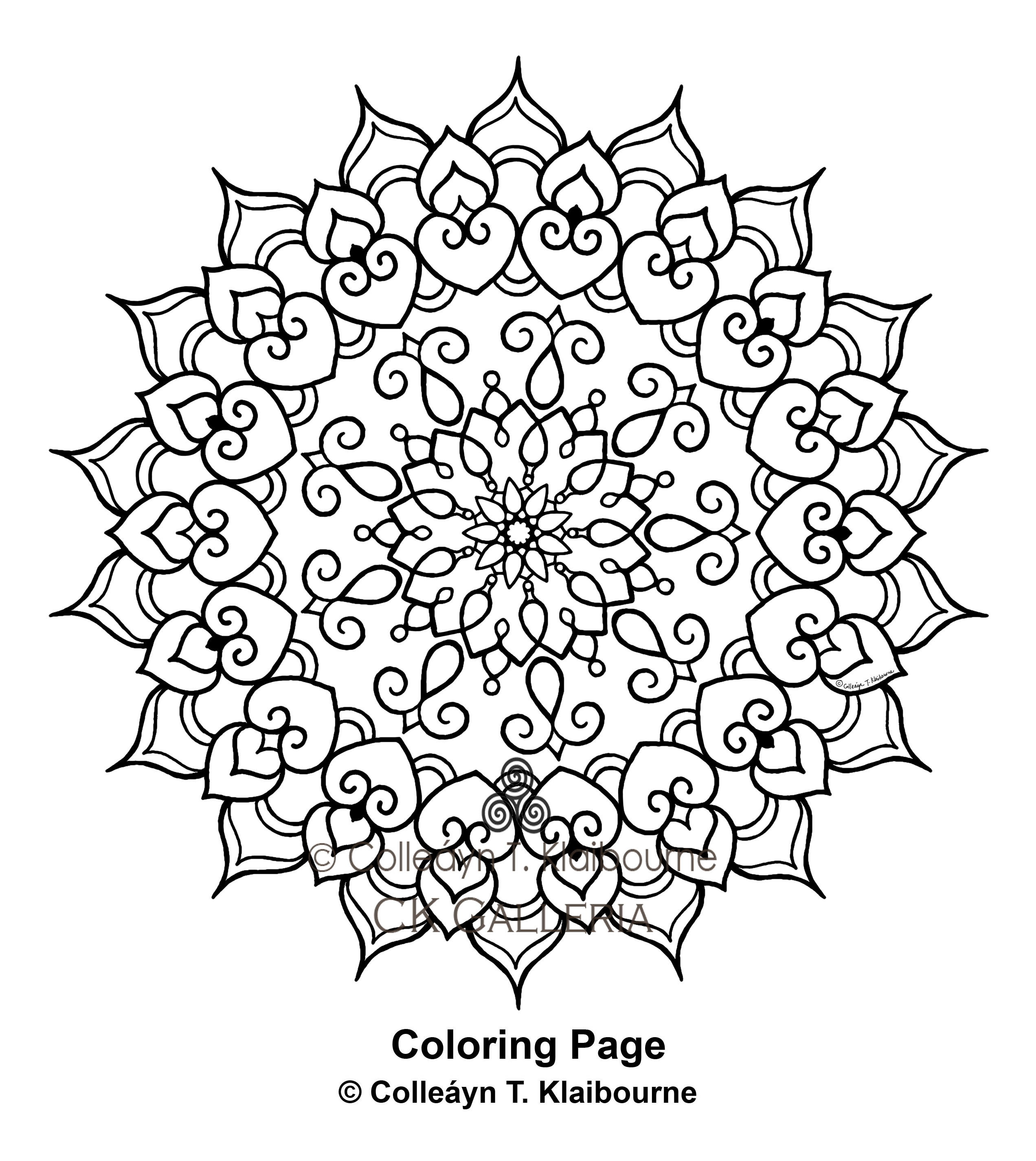 A Mandala PDF Digital Download Coloring Page, Delicate Love