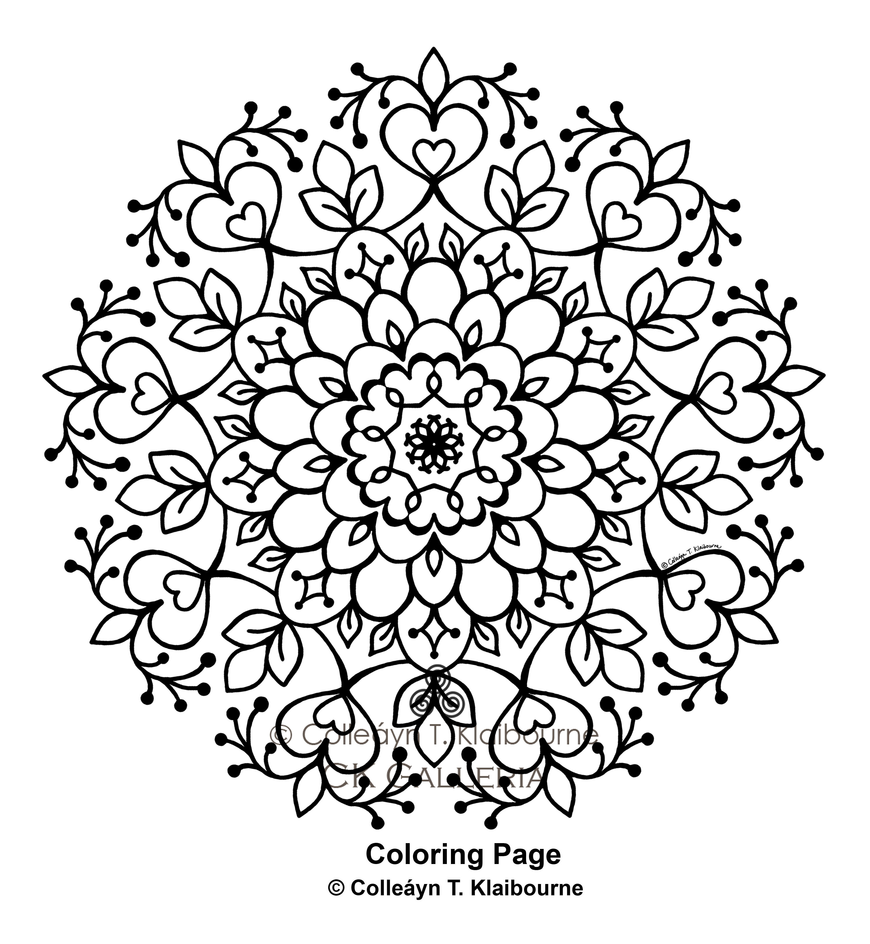 A Mandala PDF Digital Download Coloring Page, Growth