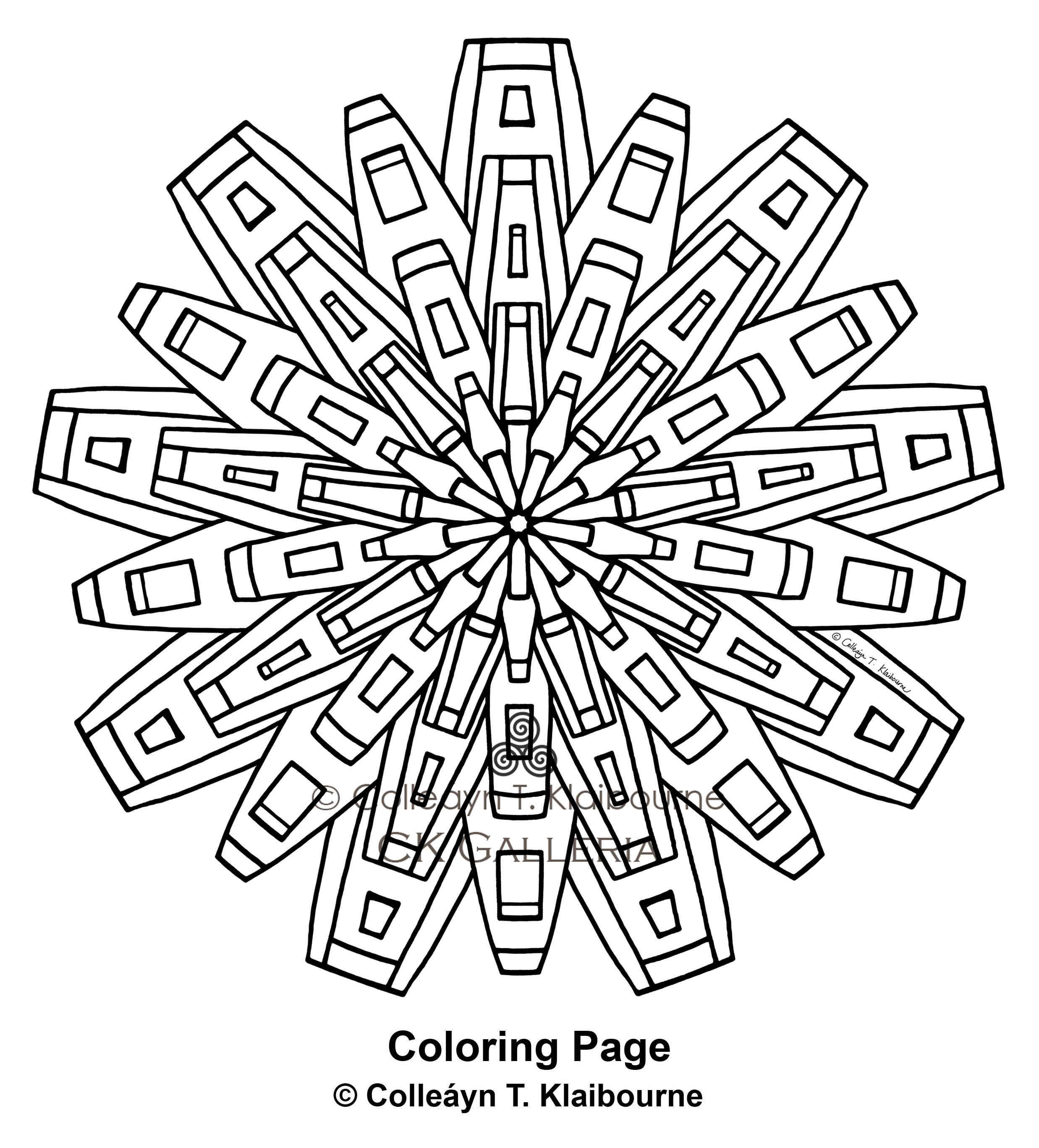 A Mandala PDF Digital Download Coloring Page, Metropolis